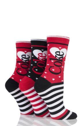 Ladies 3 Pair Coca Cola Heart and Stripe Design Cotton Socks In Gift Box