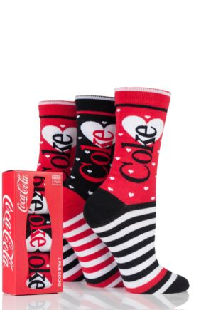 Ladies 3 Pair Coca Cola Heart and Stripe Design Cotton Socks In Gift Box Red 4-8 Ladies
