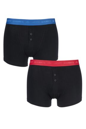 Mens 2 Pack Jeff Banks Plymouth Button Cotton Boxer Shorts