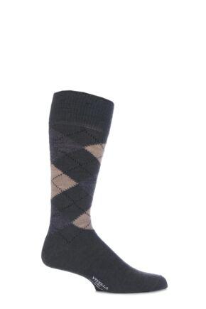 Mens 1 Pair Viyella Half Hose Wool Argyle Socks Made In England Lovat