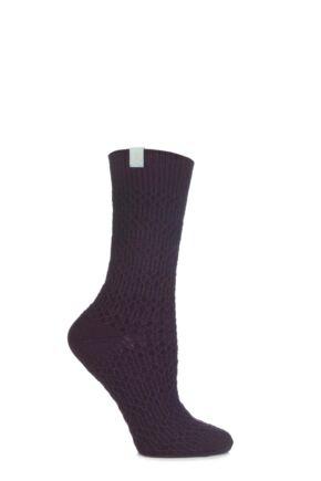 Ladies 1 Pair Urban Knit Painted Angora Ankle Socks 75% OFF Purple