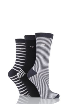 Ladies 3 Pair Jeep Spirit Mixed Stripe and Plain Cotton Socks Charcoal 4-7 Ladies