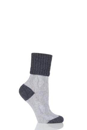 Ladies 1 Pair Pantherella Chloe Textured Wool and Cashmere Turn Over Top Socks Light Grey 4-8 Ladies