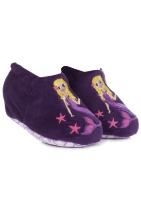 Girls 1 Pair Totes Tots Mermaid Slippers with Grip 75% OFF Purple 12-18