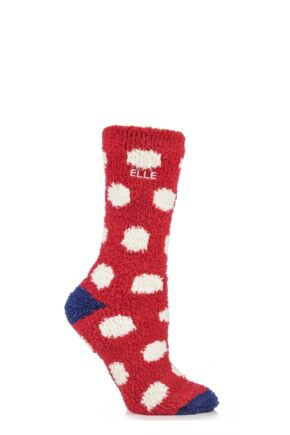 Ladies 1 Pair Elle Supersoft Spotty Cosy Socks Cosy Red
