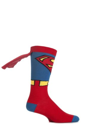 Mens 1 Pair SockShop Superman Cape Socks Multi Coloured 6-11