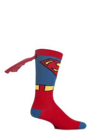 Boys 1 Pair SockShop Superman Cape Socks Multi Coloured 4-6.5