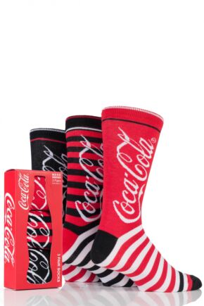 Mens 3 Pair Coca Cola Striped Cotton Socks In Gift Box Red 6-11 Mens