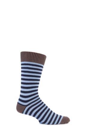 Mens 1 Pair SOCKSHOP of London Striped 80% Cotton Socks