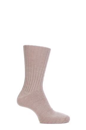 Mens and Ladies 1 Pair SockShop of London Alpaca Comfort Cuff Ribbed True Socks Toffee 4-7