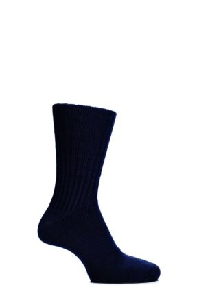 Mens and Ladies 1 Pair SockShop of London Alpaca Comfort Cuff Ribbed True Socks Navy 4-7