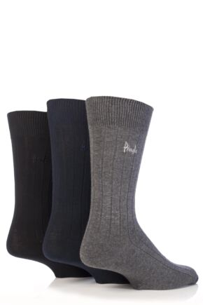 Mens 3 Pair Pringle Laird Rib Trouser Socks