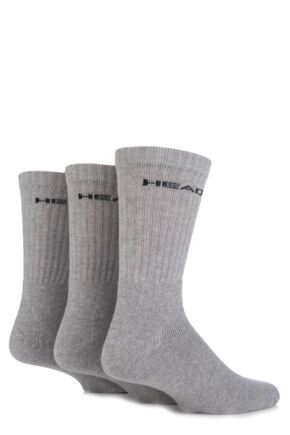 Mens 3 Pair Head Plain Cotton Sport Crew Socks In Grey Grey 6-8