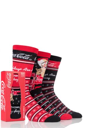 Mens 3 Pair Coca Cola Holidays are Coming Cotton Socks In Gift Box Red 6-11 Mens