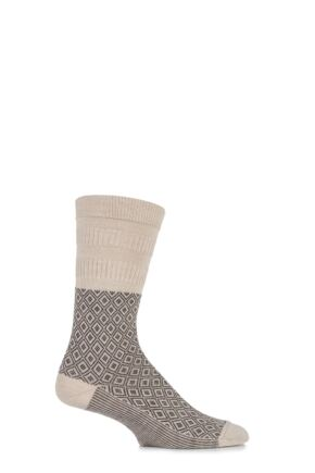 Mens 1 Pair HJ Hall Mosaic Wool Blend Softop Socks Oatmeal 6-11 Mens