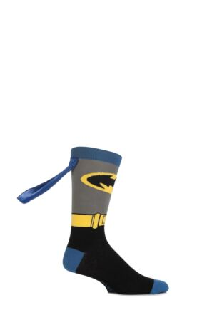 Boys 1 Pair SockShop Batman Cape Socks Multi Coloured 4-6.5