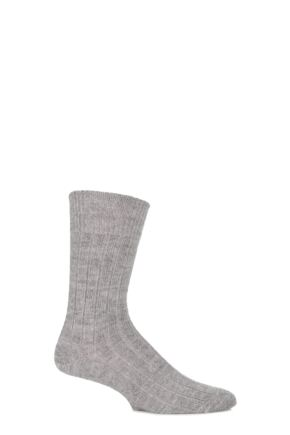 Mens and Ladies 1 Pair SockShop of London Alpaca Bed Socks Natural Grey 4-7