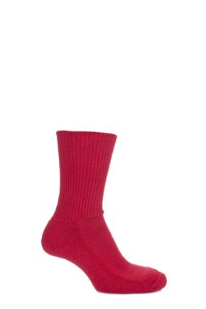 Mens and Ladies 1 Pair SockShop of London Alpaca Ribbed Boot Socks With Cushioning Red 11-13