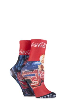 Ladies 2 Pair Coca Cola Holidays Are Coming Iconic Truck Printed Socks Red 4-7 Ladies