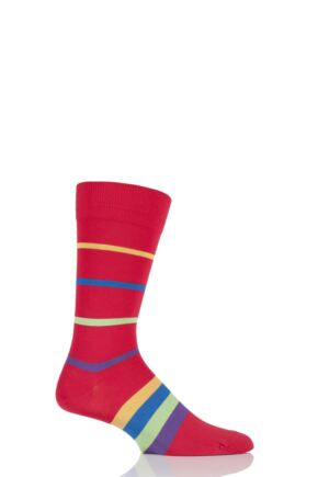 Mens 1 Pair HJ Hall Elkins Striped Egyptian Cotton Socks Scarlet 7-10 Mens