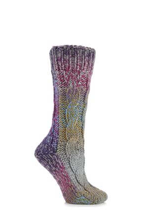 Ladies 1 Pair Elle Space Dye Slubby Cable Slipper Socks