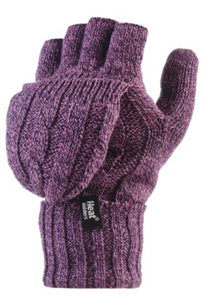 Ladies 1 Pair Heat Holders 2.3 Tog Heatweaver Yarn Fingerless Gloves with Converter Mitt Purple