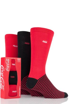 Mens 3 Pair Coca Cola Striped Foot Cotton Socks In Gift Box Red 6-11 Mens