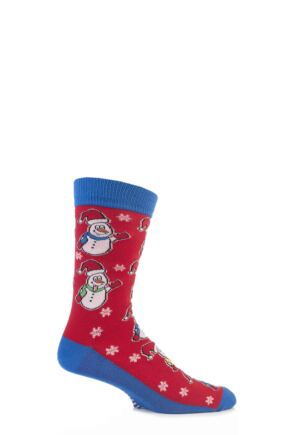 Mens 1 Pair SockShop Festive Feet Snowman Christmas Novelty Socks Red 6-11