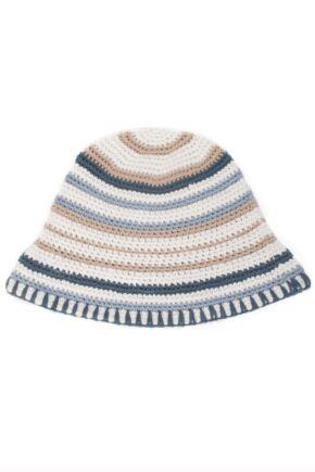 Ladies Urban Knit Neutral Stripe Festival Sun Hat  75% OFF