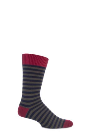 Mens 1 Pair J Alex Swift Striped 80% Cotton Socks Lacquer / Navy / Loden