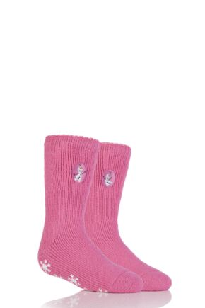 Girls 1 Pair Heat Holders Disney Frozen Olaf Slipper Socks with Grip Pink 9-12 Girls