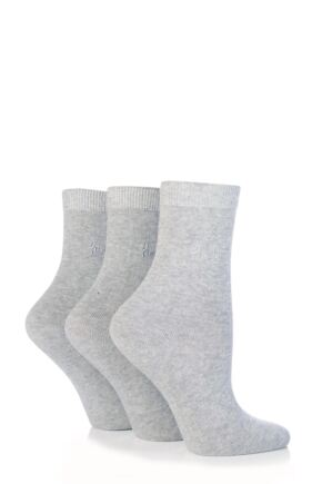 Ladies 3 Pair Pringle Tiffany Plain Trouser Socks light grey
