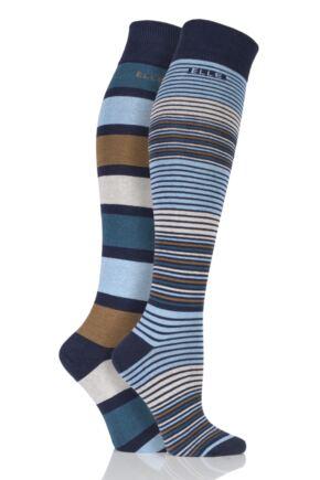 Ladies 2 Pair Elle Striped Cotton Knee High Socks Teal Jewel 4-8 Ladies