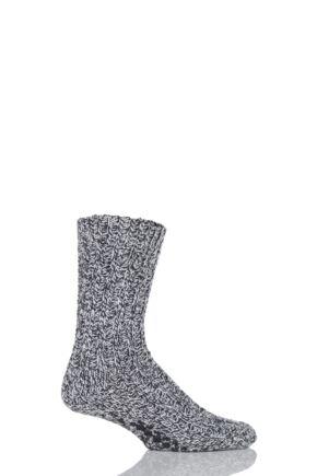 Mens 1 Pair SockShop Chunky Marl Slipper Socks Black 11-14 Mens