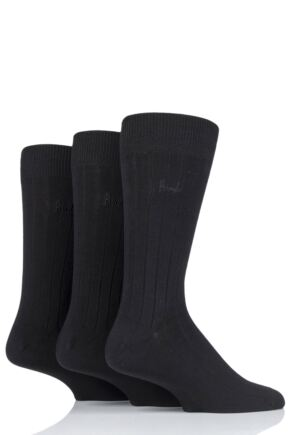 Mens 3 Pair Pringle Laird Rib Trouser Socks Black