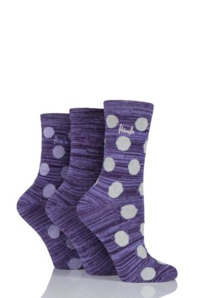 Ladies 3 Pair Pringle Salena Space Dye Dots and Plain Socks Purple 4-8 Ladies