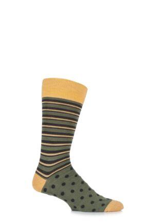Mens 1 Pair Viyella Half Stripe and Half Dots Wool Blend Socks Lovat 6-11 Mens