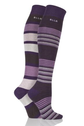 Ladies 2 Pair Elle Striped Cotton Knee High Socks Purple Raven 4-8 Ladies