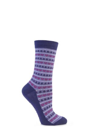 Ladies 1 Pair SockShop Festive Feet Fair Isle Christmas Novelty Socks Purple 4-8