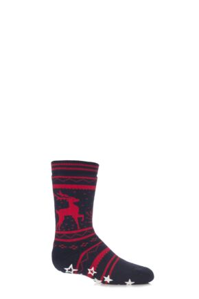 Boys and Girls 1 Pair Falke Fair Isle Reindeer Cotton Slipper Socks Dark Marine 27-30