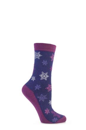 Ladies 1 Pair SockShop Festive Feet Snowflakes Christmas Novelty Socks Purple 4-8
