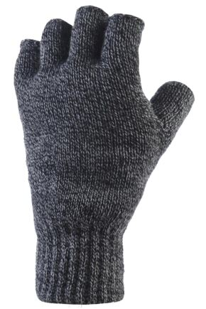 Mens 1 Pair Heat Holders 2.3 Tog Heatweaver Yarn Fingerless Gloves Charcoal