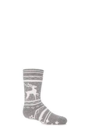 Boys and Girls 1 Pair Falke Fair Isle Reindeer Cotton Slipper Socks Grey 27-30
