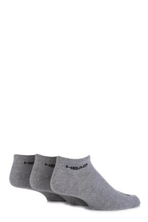 Mens 3 Pair Head Plain Cotton Sport Sneaker Socks In Grey Grey 6-8