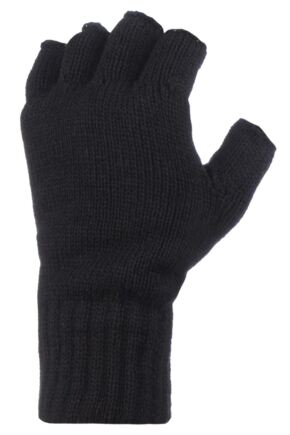 Mens 1 Pair Heat Holders 3.2 Tog Heatweaver Yarn Fingerless Gloves