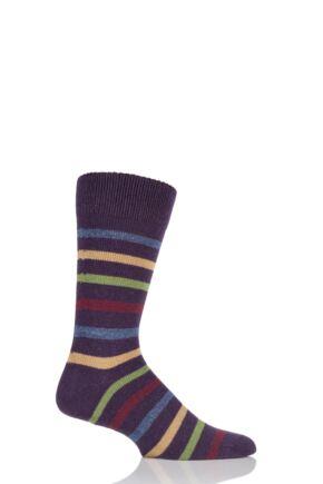 Mens 1 Pair HJ Hall Blenheim Striped Luxury Lambswool Socks 25% OFF Mulberry 7-10 Mens
