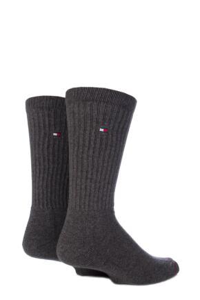 Mens 2 Pair Tommy Hilfiger Cotton Sports Socks Anthracite Melange 9-11
