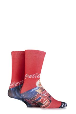 Mens 2 Pair Coca Cola Holidays Are Coming Iconic Truck Printed Socks Red 6-11 Mens