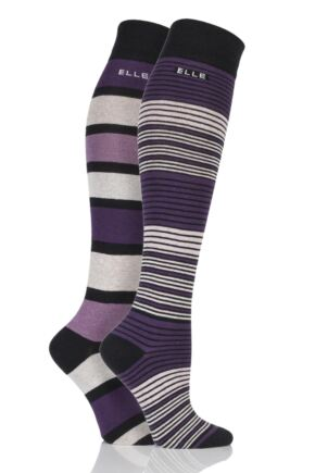 Ladies 2 Pair Elle Striped Cotton Knee High Socks Black 4-8 Ladies