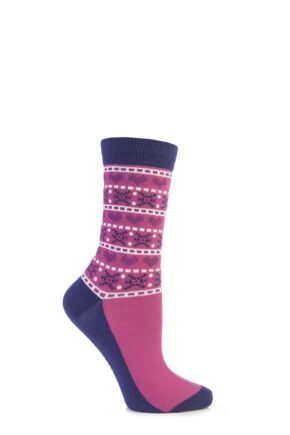 Ladies 1 Pair SockShop Festive Feet Hearts and Snowflakes Christmas Novelty Socks Pink 4-8